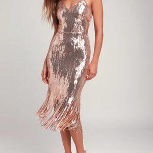Lulus | Women's Rose Gold Sequin Fringe Midi Dress